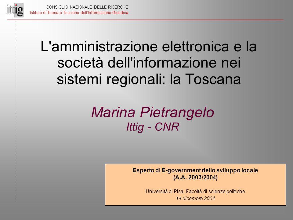 Esperto di E-government dello sviluppo locale (A.A. 2003/2004) Università di Pisa, Facoltà di scienze politiche 14 dicembre 2004 L'amministrazione ele
