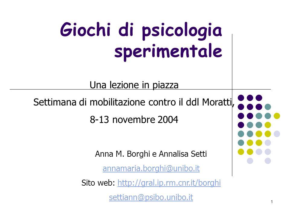 1 Giochi di psicologia sperimentale Una lezione in piazza Settimana di mobilitazione contro il ddl Moratti, 8-13 novembre 2004 Anna M.