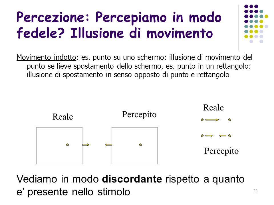 10 Percezione: Percepiamo in modo fedele? Illusione di movimento Movimento apparente o stroboscopico Wertheimer, 1912 - Tachistoscopio, apparecchio pe