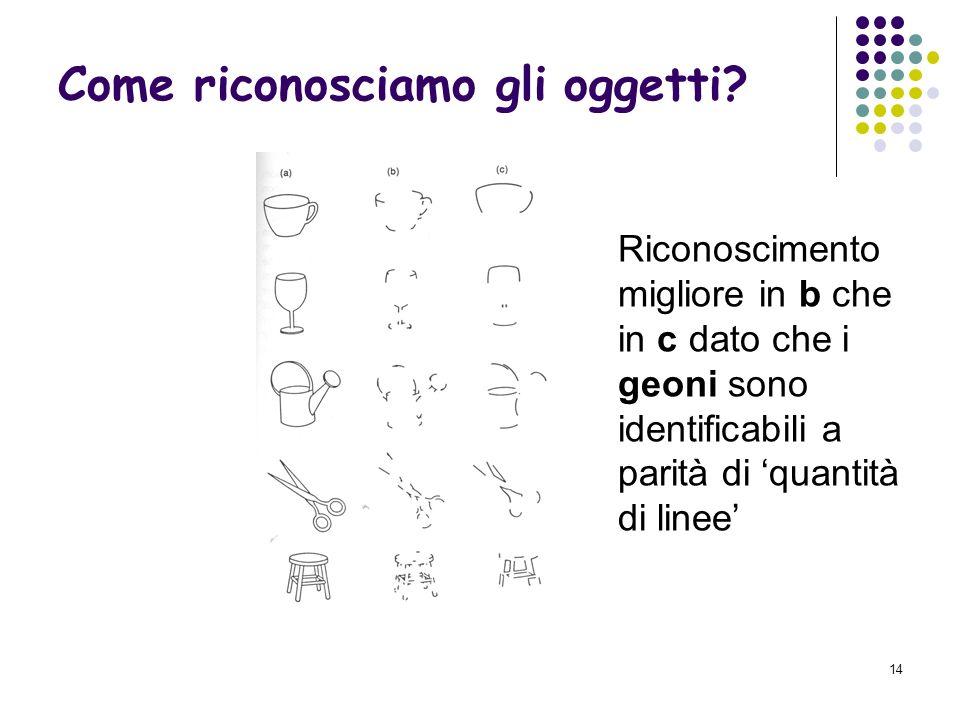 13 Secondo Biederman per riconoscere gli oggetti li decomponiamo in geoni, ioni geometrici. Ne esistono 36. Come riconosciamo gli oggetti?
