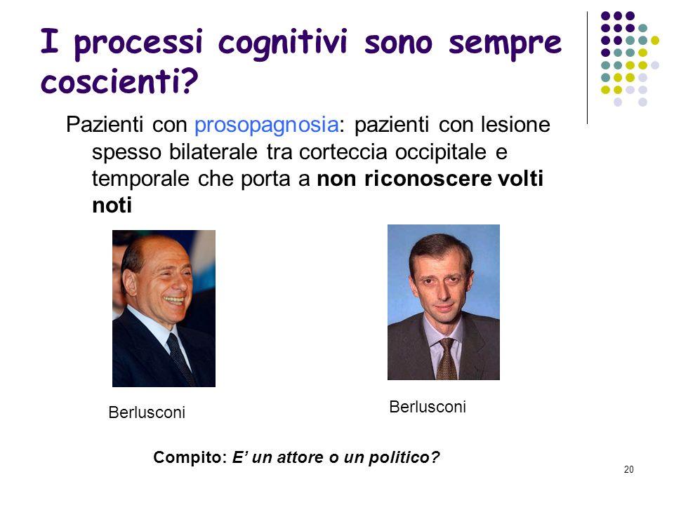 19 I processi cognitivi sono sempre coscienti? Pazienti blind-sight: perdita della coscienza dellesperienza visiva in una data area del campo visivo i