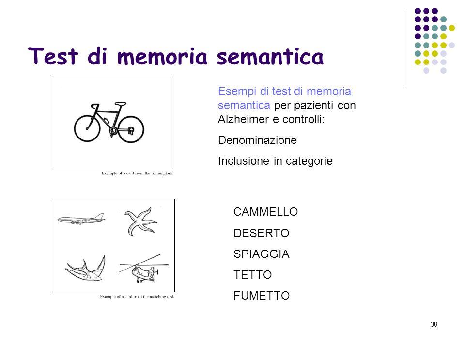 37 Memoria semantica: cose e come studiarla Memoria semantica: Memoria di parole, concetti, regole,idee Conoscenza generale (enciclopedia, dizionario)
