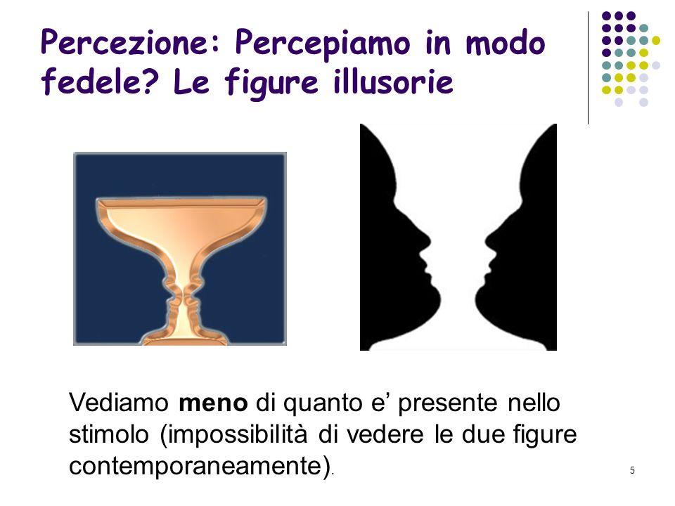 4 Percezione: percepiamo in modo fedele? Le figure illusorie Vediamo piu di quanto e presente nello stimolo (il quadrato).