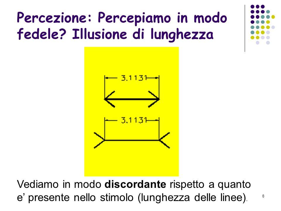 7 Percezione: Percepiamo in modo fedele? Le figure illusorie Vediamo meno di quanto e presente nello stimolo (coniglio o anatra).