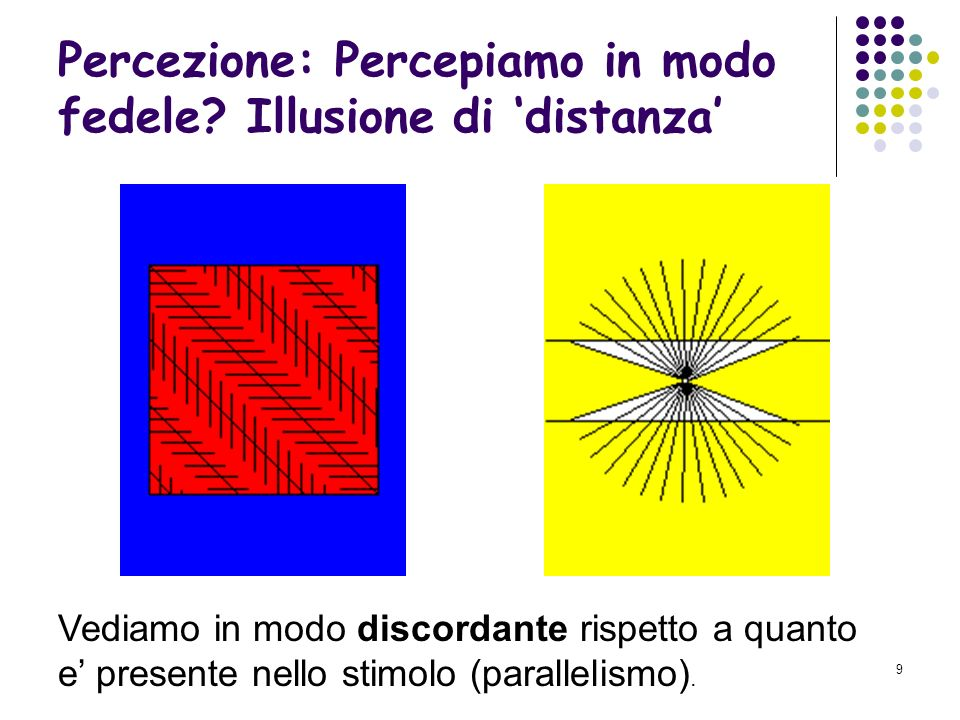 8 Percezione: Percepiamo in modo fedele? Illusione di lunghezza Vediamo in modo discordante rispetto a quanto e presente nello stimolo (lunghezza dell