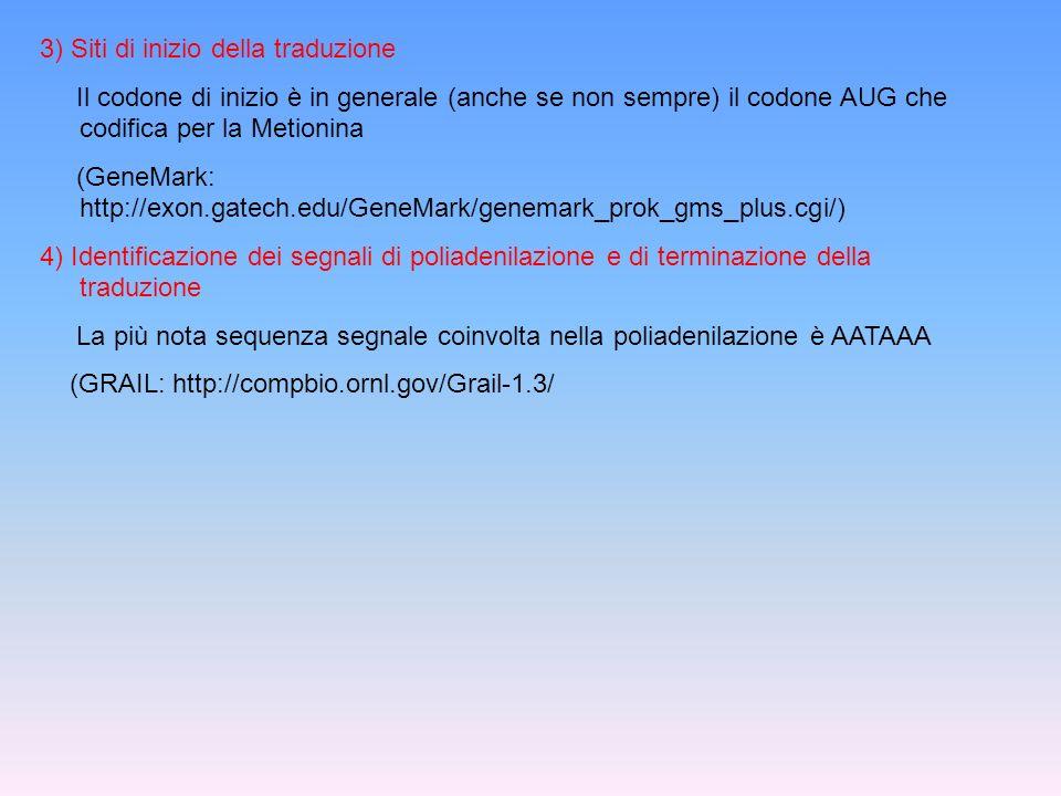3) Siti di inizio della traduzione Il codone di inizio è in generale (anche se non sempre) il codone AUG che codifica per la Metionina (GeneMark: http