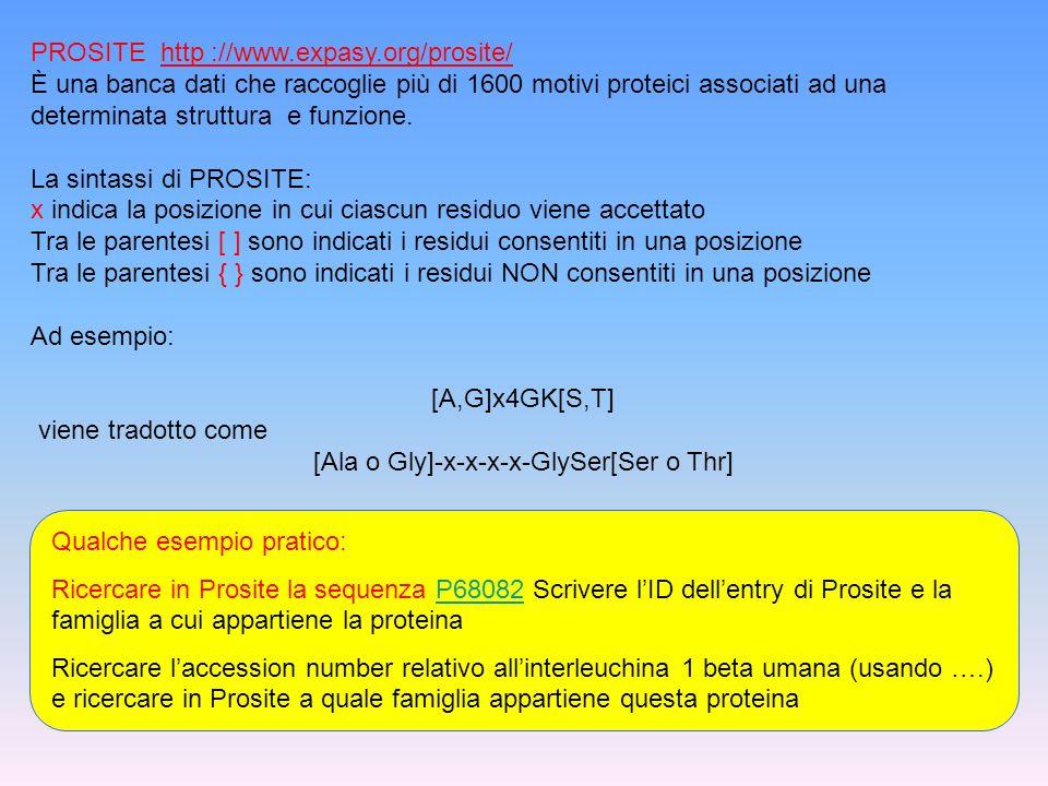 PROSITE http ://www.expasy.org/prosite/ È una banca dati che raccoglie più di 1600 motivi proteici associati ad una determinata struttura e funzione.