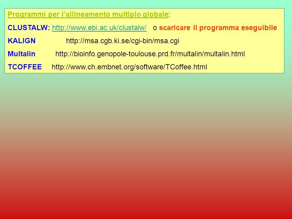 Programmi per lallineamento multiplo globale: CLUSTALW: http://www.ebi.ac.uk/clustalw/ o scaricare il programma eseguibilehttp://www.ebi.ac.uk/clustal
