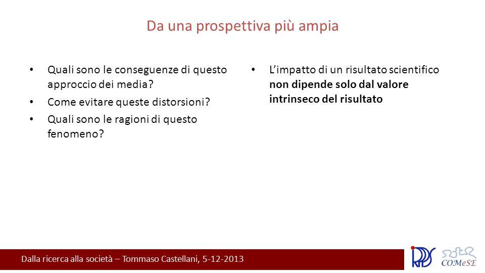 Dalla ricerca alla società – Tommaso Castellani, 5-12-2013 Da una prospettiva più ampia Quali sono le conseguenze di questo approccio dei media.