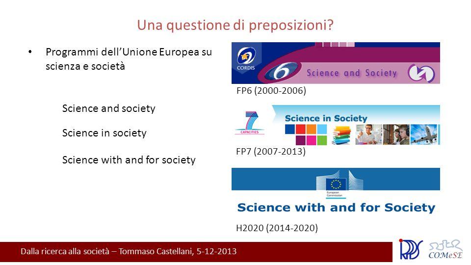 Dalla ricerca alla società – Tommaso Castellani, 5-12-2013 Una questione di preposizioni.