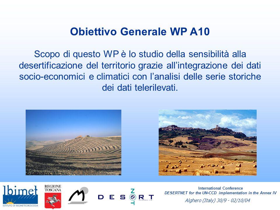 Scopo di questo WP è lo studio della sensibilità alla desertificazione del territorio grazie allintegrazione dei dati socio-economici e climatici con lanalisi delle serie storiche dei dati telerilevati.