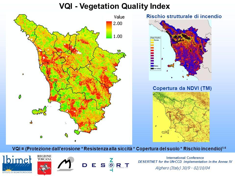 VQI - Vegetation Quality Index VQI = (Protezione dallerosione * Resistenza alla siccità * Copertura del suolo * Rischio incendio) 1/4 International Co
