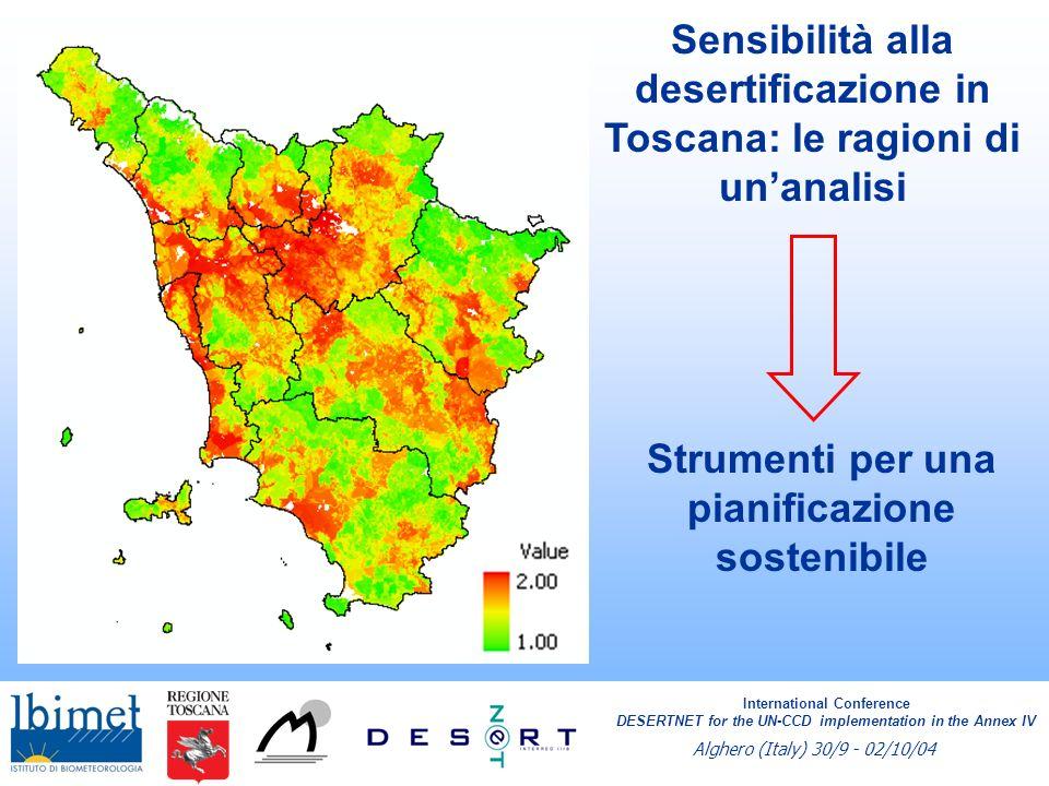 International Conference DESERTNET for the UN-CCD implementation in the Annex IV Alghero (Italy) 30/9 - 02/10/04 Perennizzazione dei risultati Consolidamento e fruibilità delle banche dati Consolidamento delle reti regionali e delle metodologie di analisi Sensibilizzazione della popolazione e degli enti locali