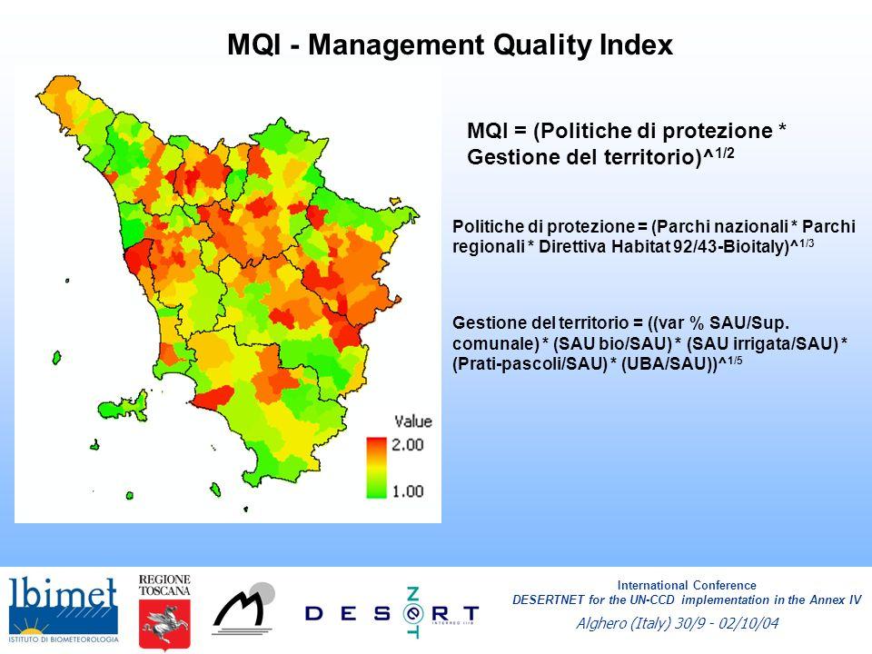 MQI - Management Quality Index MQI = (Politiche di protezione * Gestione del territorio)^ 1/2 Politiche di protezione = (Parchi nazionali * Parchi regionali * Direttiva Habitat 92/43-Bioitaly)^ 1/3 Gestione del territorio = ((var % SAU/Sup.