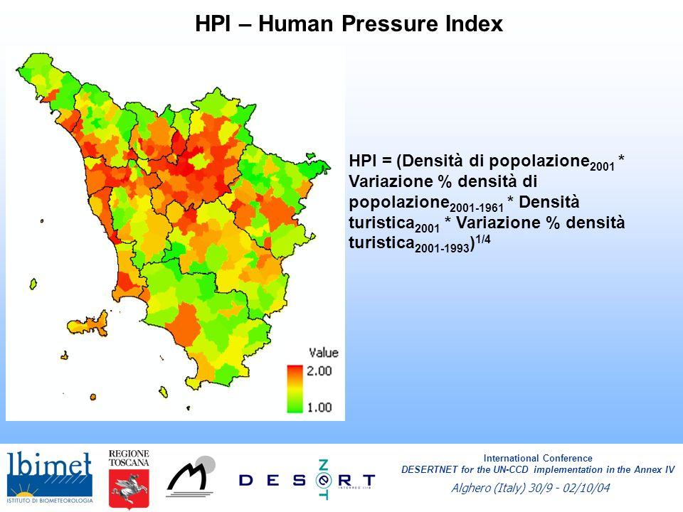 HPI – Human Pressure Index HPI = (Densità di popolazione 2001 * Variazione % densità di popolazione 2001-1961 * Densità turistica 2001 * Variazione %