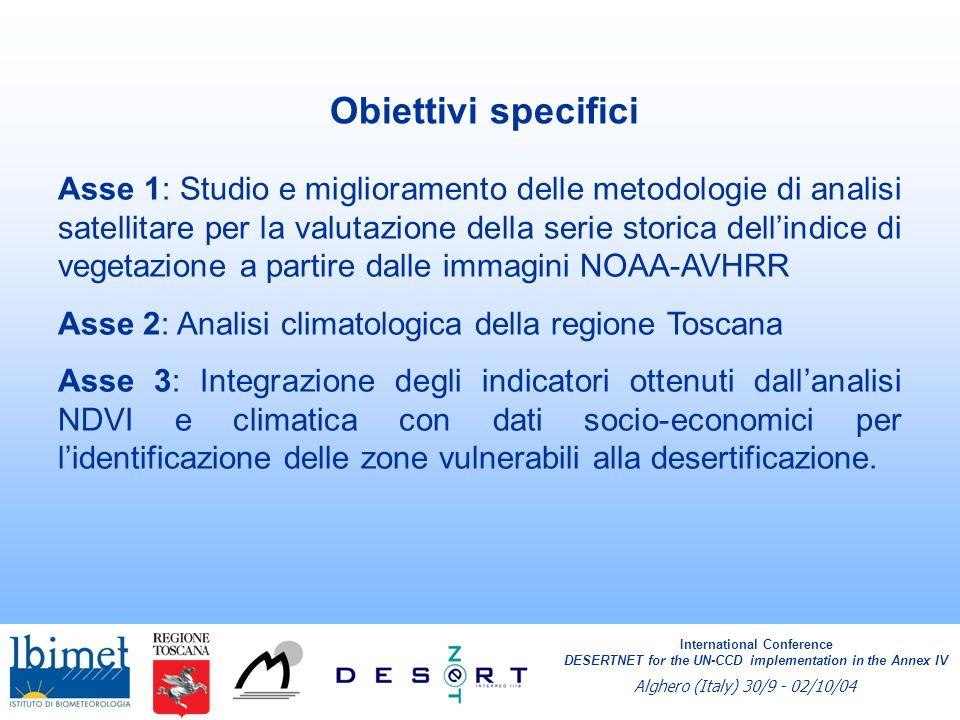 International Conference DESERTNET for the UN-CCD implementation in the Annex IV Alghero (Italy) 30/9 - 02/10/04 Analisi di immagini telerilevate Bassa risoluzione: Trend NDVI NOAA AVHRR 1986 - 2003 Alta risoluzione Landsat TM 1984 - 2003