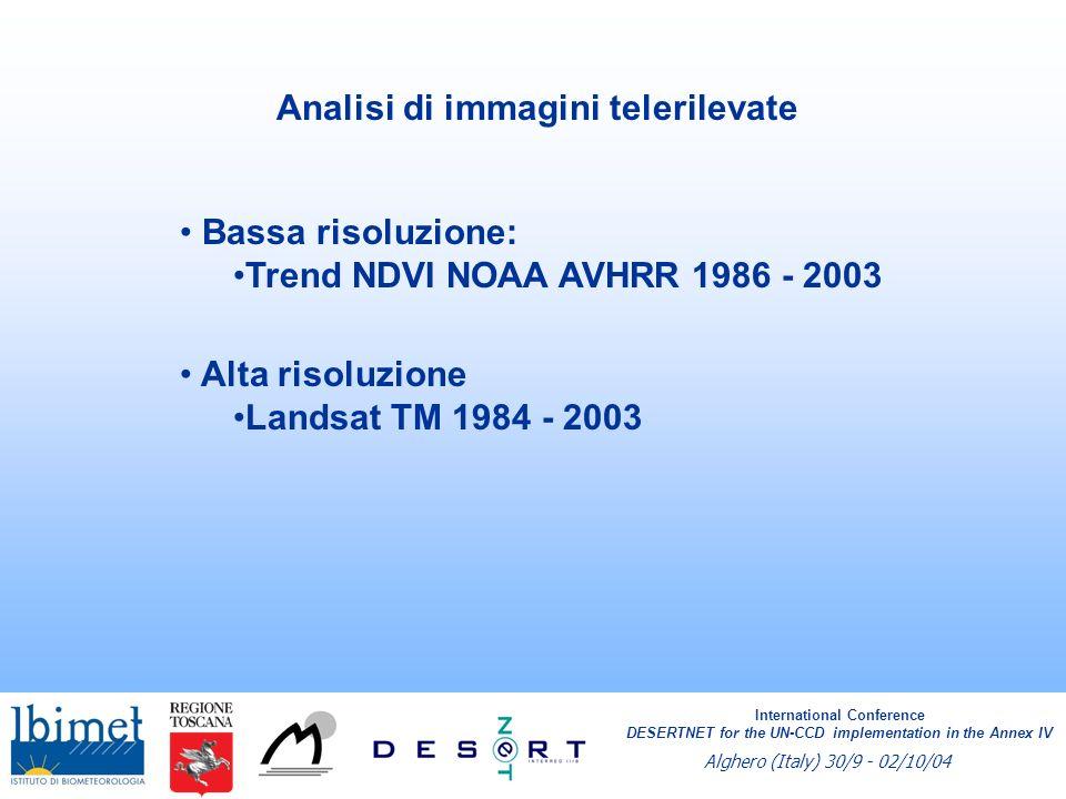 Analisi mensile dei trend NDVI Trend dei valori di NDVI del mese di Agosto nel periodo 1986 – 2003.