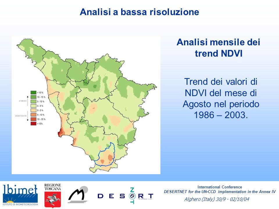 Analisi stagionale dei trend Andamento dei valori di NDVI della stagione estiva e primaverile nel periodo 1986 – 2003.