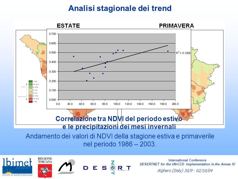 VQI - Vegetation Quality Index VQI = (Protezione dallerosione * Resistenza alla siccità * Copertura del suolo * Rischio incendio) 1/4 International Conference DESERTNET for the UN-CCD implementation in the Annex IV Alghero (Italy) 30/9 - 02/10/04 International Conference DESERTNET for the UN-CCD implementation in the Annex IV Alghero (Italy) 30/9 - 02/10/04 Rischio strutturale di incendio Copertura da NDVI (TM)