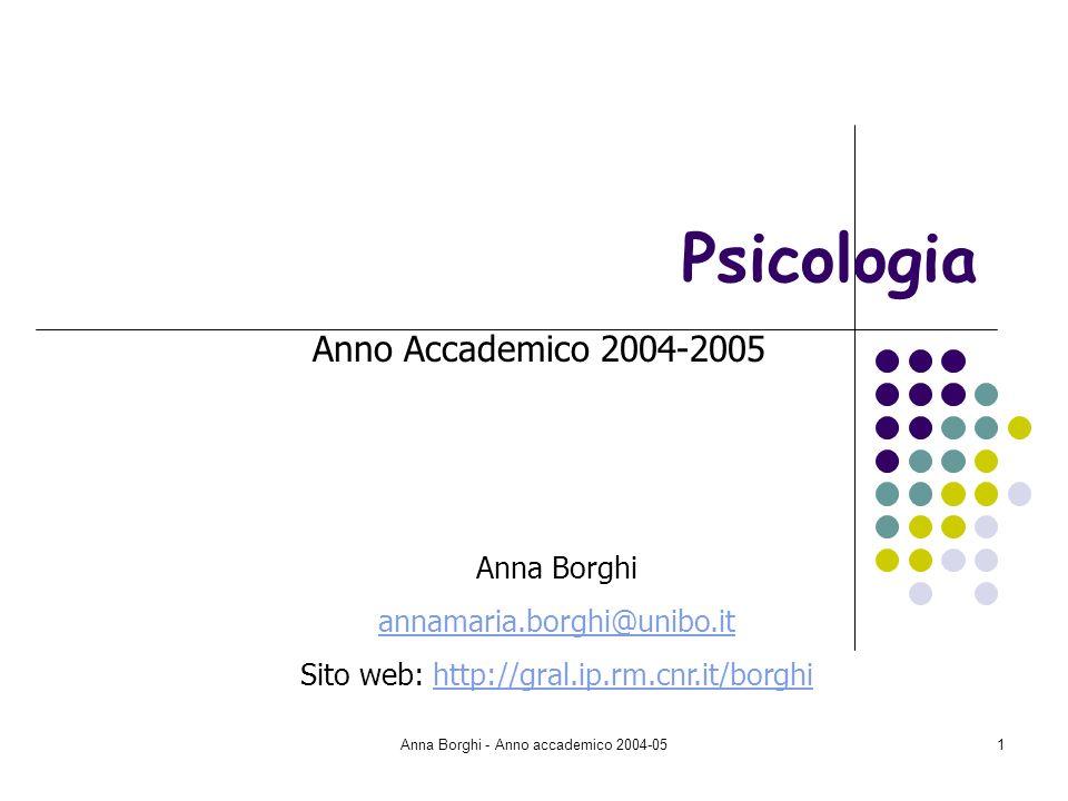 Anna Borghi - Anno accademico 2004-0532 Teoria della percezione di Gibson Rifiuto della teoria cognitivista dellelaborazione delle informazioni: le informazioni sono già presenti nella stimolazione e possono essere colte direttamente.