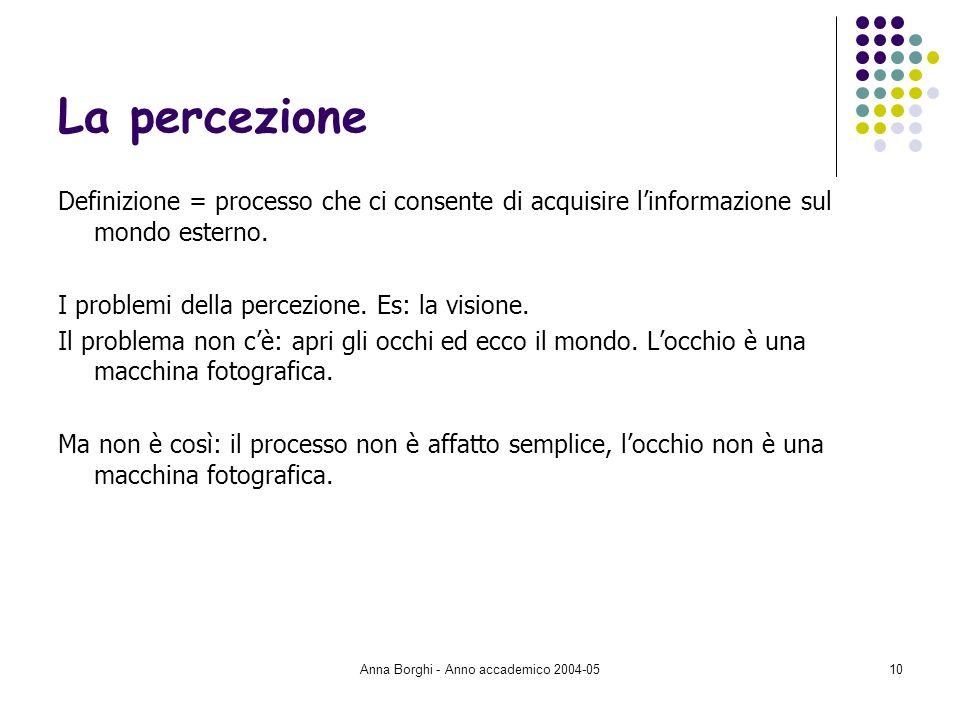 Anna Borghi - Anno accademico 2004-0510 La percezione Definizione = processo che ci consente di acquisire linformazione sul mondo esterno. I problemi