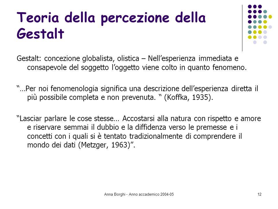 Anna Borghi - Anno accademico 2004-0512 Teoria della percezione della Gestalt Gestalt: concezione globalista, olistica – Nellesperienza immediata e co