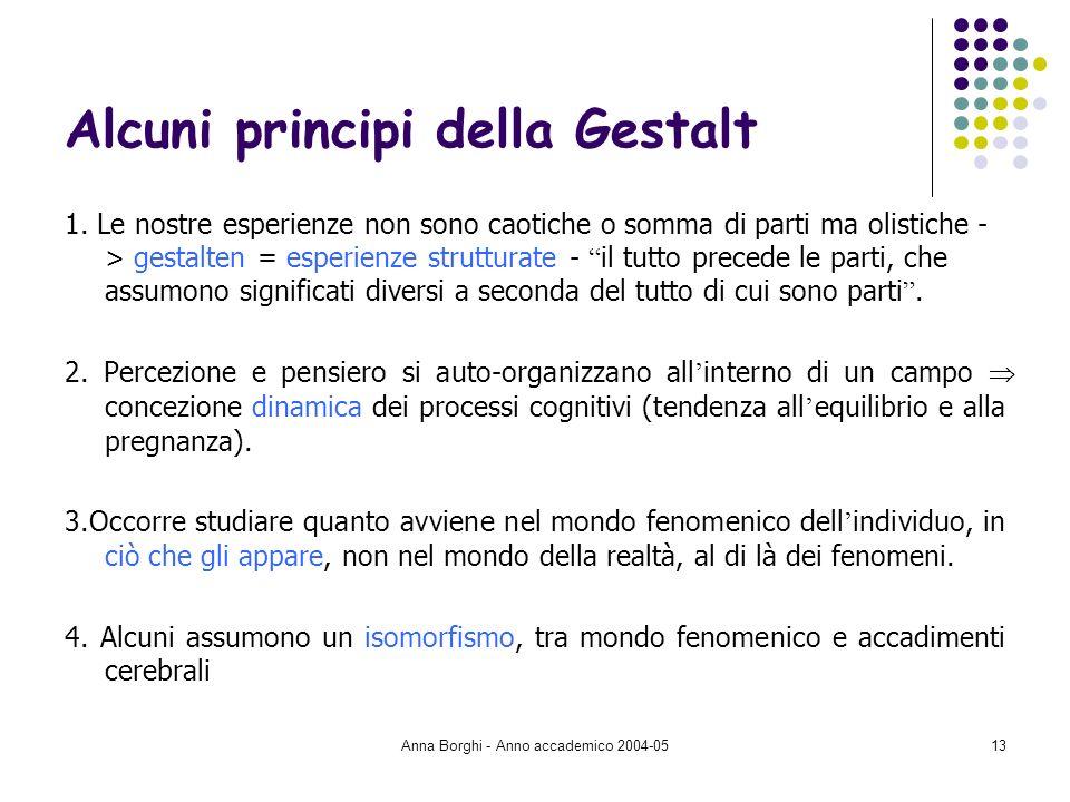 Anna Borghi - Anno accademico 2004-0513 Alcuni principi della Gestalt 1. Le nostre esperienze non sono caotiche o somma di parti ma olistiche - > gest