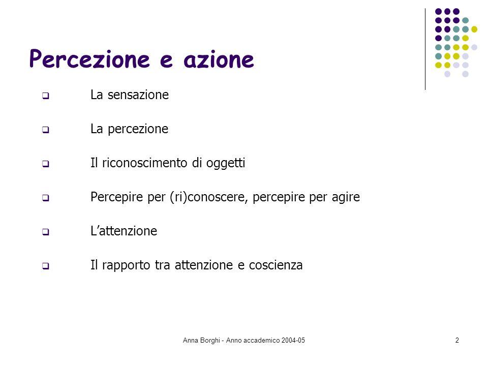 Anna Borghi - Anno accademico 2004-052 Percezione e azione La sensazione La percezione Il riconoscimento di oggetti Percepire per (ri)conoscere, perce