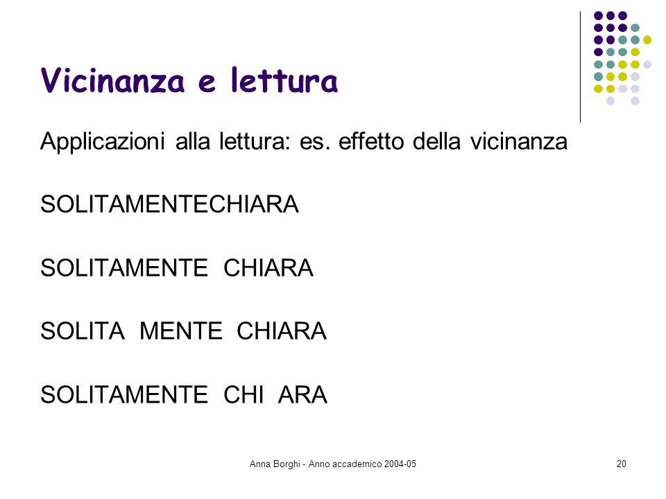 Anna Borghi - Anno accademico 2004-0520 Vicinanza e lettura Applicazioni alla lettura: es. effetto della vicinanza SOLITAMENTECHIARA