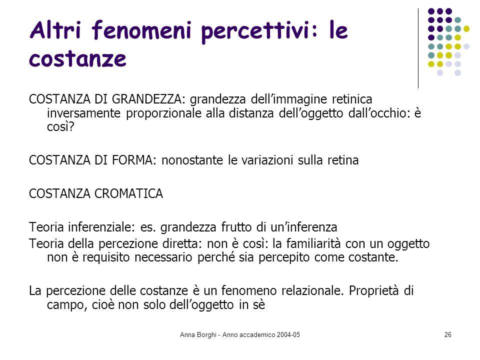 Anna Borghi - Anno accademico 2004-0526 Altri fenomeni percettivi: le costanze COSTANZA DI GRANDEZZA: grandezza dellimmagine retinica inversamente pro