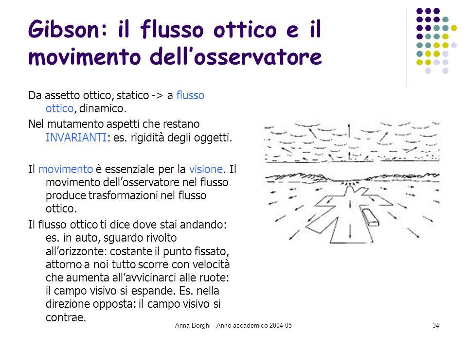 Anna Borghi - Anno accademico 2004-0534 Gibson: il flusso ottico e il movimento dellosservatore Da assetto ottico, statico -> a flusso ottico, dinamic