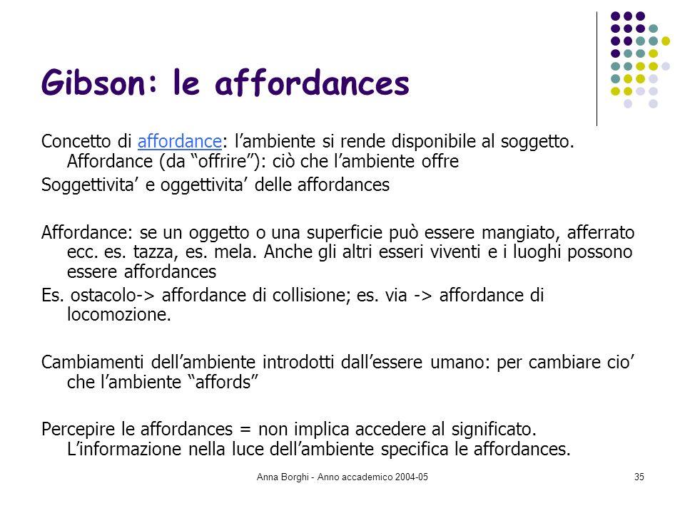 Anna Borghi - Anno accademico 2004-0535 Gibson: le affordances Concetto di affordance: lambiente si rende disponibile al soggetto. Affordance (da offr