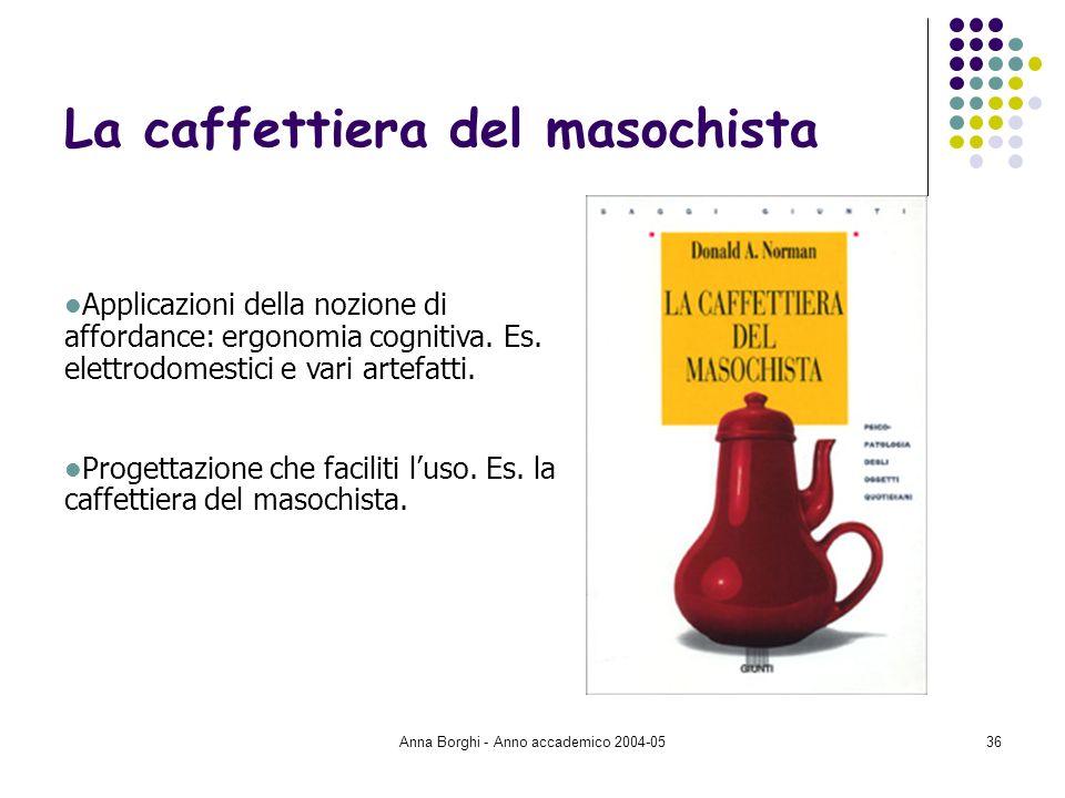 Anna Borghi - Anno accademico 2004-0536 La caffettiera del masochista Applicazioni della nozione di affordance: ergonomia cognitiva. Es. elettrodomest