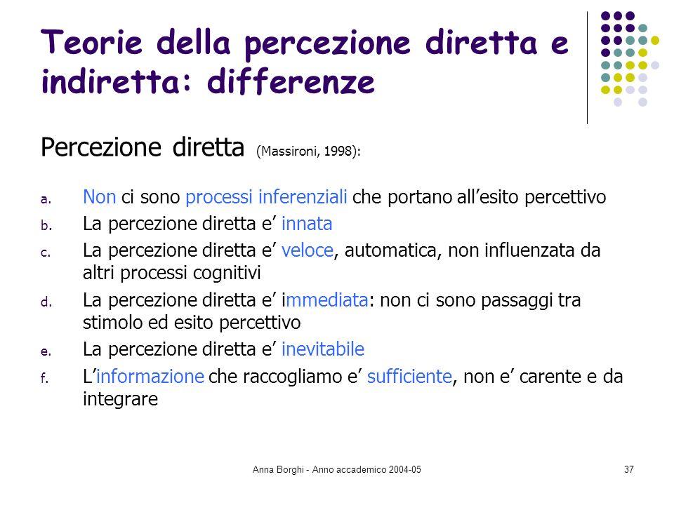 Anna Borghi - Anno accademico 2004-0537 Teorie della percezione diretta e indiretta: differenze Percezione diretta (Massironi, 1998): a. Non ci sono p