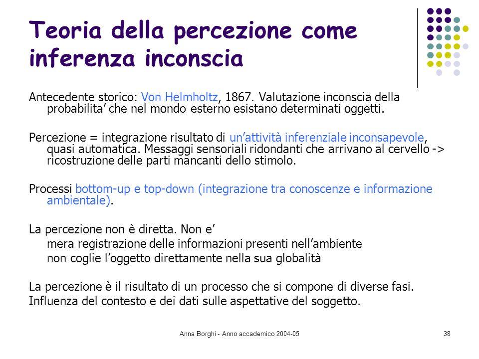 Anna Borghi - Anno accademico 2004-0538 Teoria della percezione come inferenza inconscia Antecedente storico: Von Helmholtz, 1867. Valutazione inconsc
