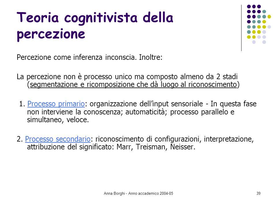 Anna Borghi - Anno accademico 2004-0539 Teoria cognitivista della percezione Percezione come inferenza inconscia. Inoltre: La percezione non è process