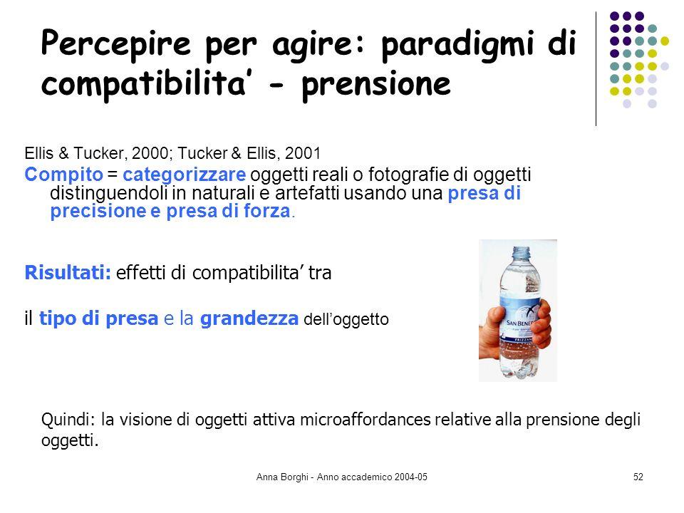 Anna Borghi - Anno accademico 2004-0552 Percepire per agire: paradigmi di compatibilita - prensione Ellis & Tucker, 2000; Tucker & Ellis, 2001 Compito