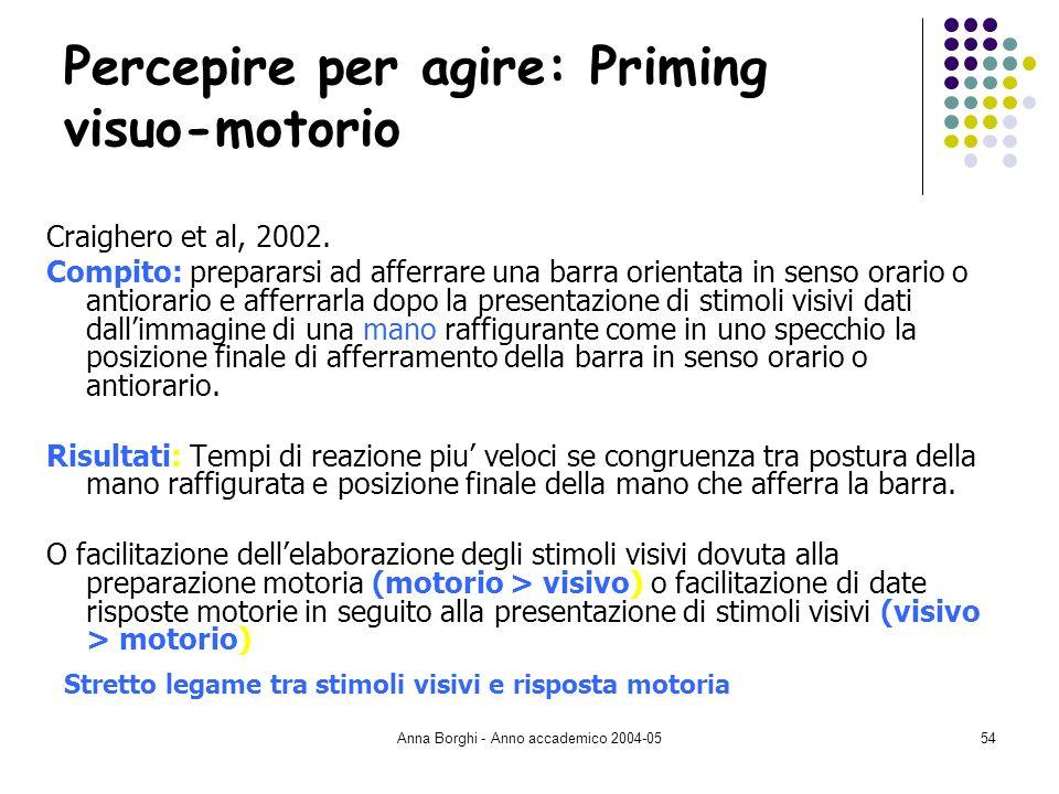 Anna Borghi - Anno accademico 2004-0554 Percepire per agire: Priming visuo-motorio Craighero et al, 2002. Compito: prepararsi ad afferrare una barra o