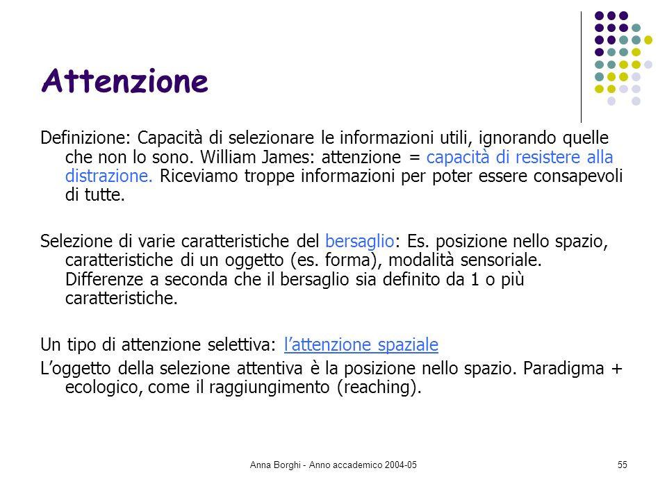Anna Borghi - Anno accademico 2004-0555 Attenzione Definizione: Capacità di selezionare le informazioni utili, ignorando quelle che non lo sono. Willi