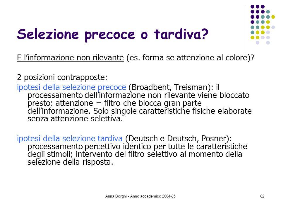 Anna Borghi - Anno accademico 2004-0562 Selezione precoce o tardiva? E linformazione non rilevante (es. forma se attenzione al colore)? 2 posizioni co
