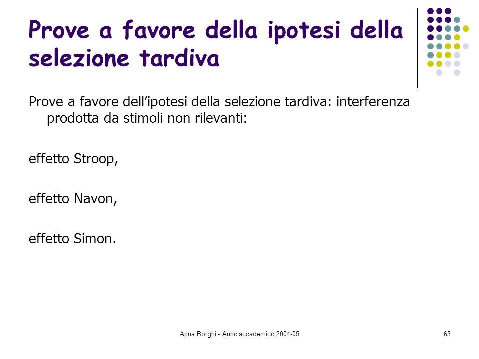 Anna Borghi - Anno accademico 2004-0563 Prove a favore della ipotesi della selezione tardiva Prove a favore dellipotesi della selezione tardiva: inter