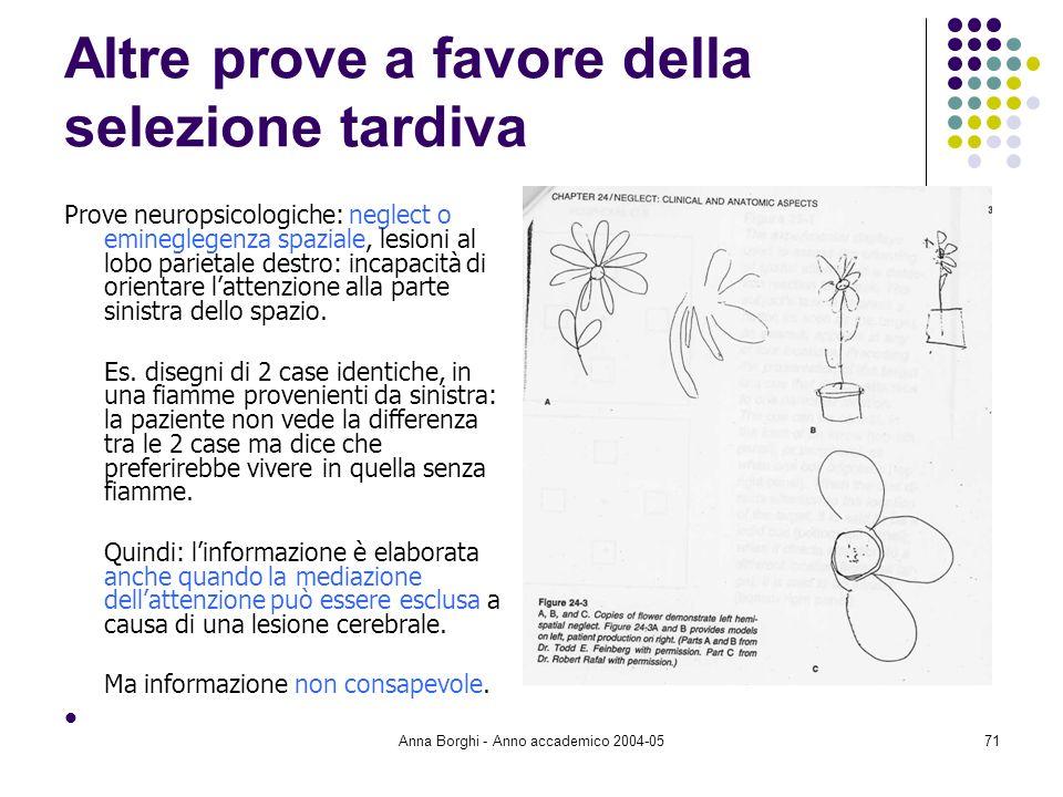 Anna Borghi - Anno accademico 2004-0571 Altre prove a favore della selezione tardiva Prove neuropsicologiche: neglect o emineglegenza spaziale, lesion