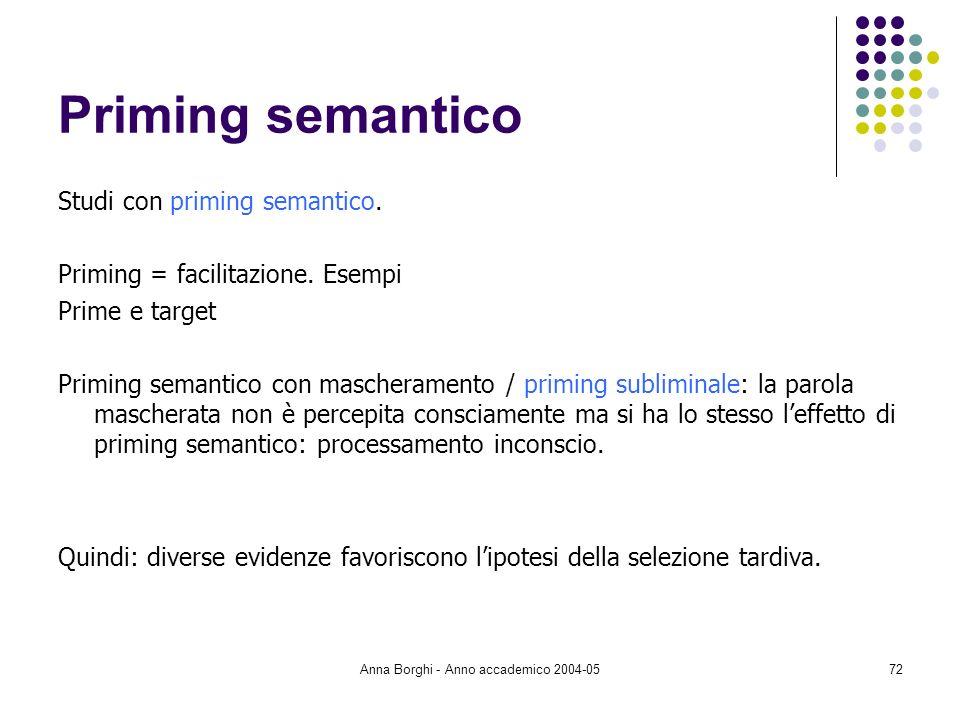Anna Borghi - Anno accademico 2004-0572 Priming semantico Studi con priming semantico. Priming = facilitazione. Esempi Prime e target Priming semantic