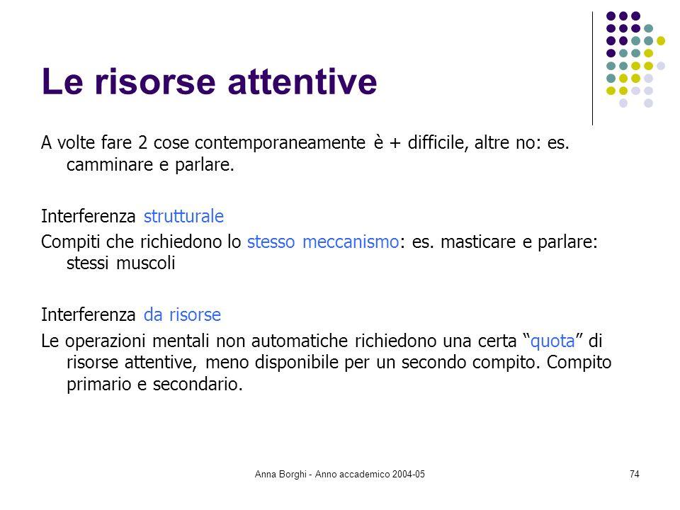 Anna Borghi - Anno accademico 2004-0574 Le risorse attentive A volte fare 2 cose contemporaneamente è + difficile, altre no: es. camminare e parlare.