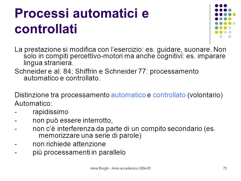 Anna Borghi - Anno accademico 2004-0575 Processi automatici e controllati La prestazione si modifica con lesercizio: es. guidare, suonare. Non solo in