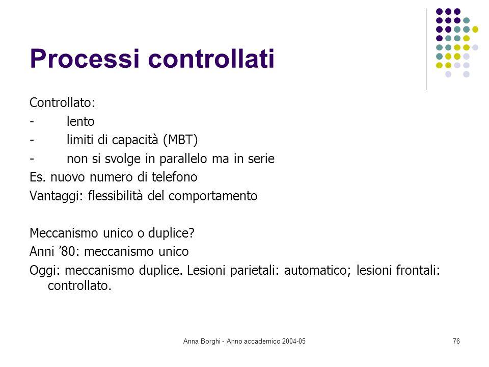 Anna Borghi - Anno accademico 2004-0576 Processi controllati Controllato: - lento - limiti di capacità (MBT) - non si svolge in parallelo ma in serie