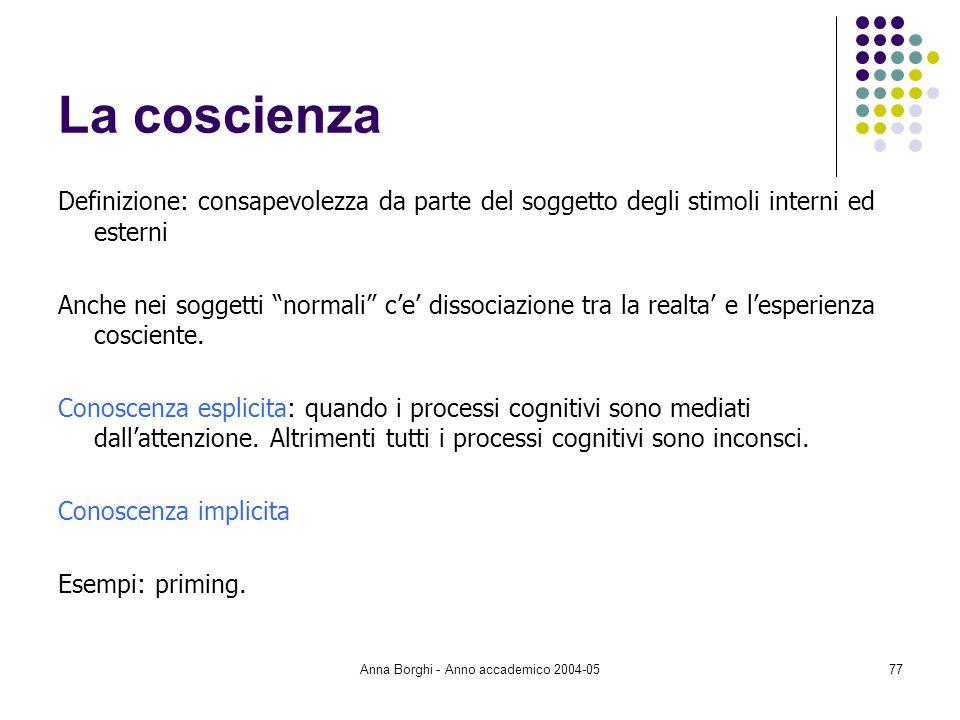 Anna Borghi - Anno accademico 2004-0577 La coscienza Definizione: consapevolezza da parte del soggetto degli stimoli interni ed esterni Anche nei sogg