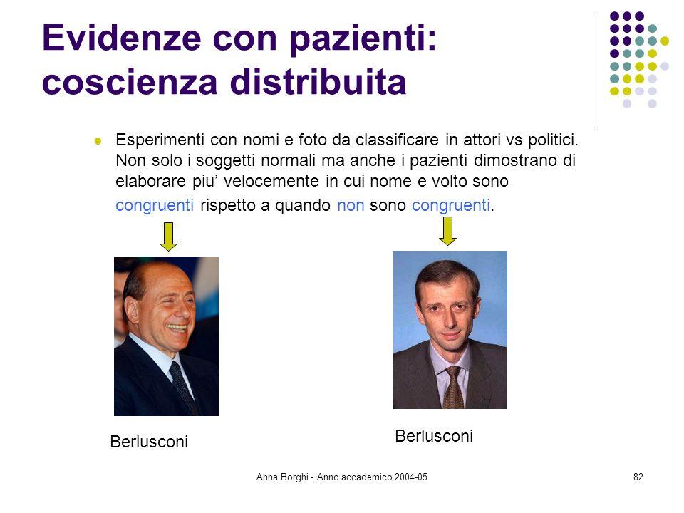Anna Borghi - Anno accademico 2004-0582 Evidenze con pazienti: coscienza distribuita Esperimenti con nomi e foto da classificare in attori vs politici