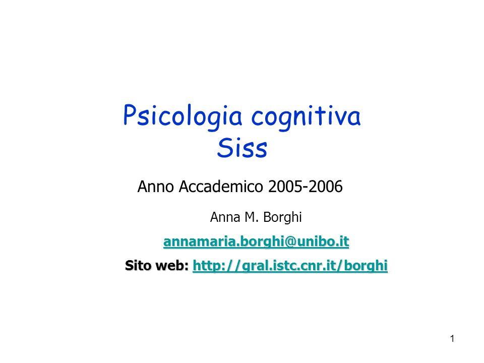 1 Psicologia cognitiva Siss Anno Accademico 2005-2006 Anna M.