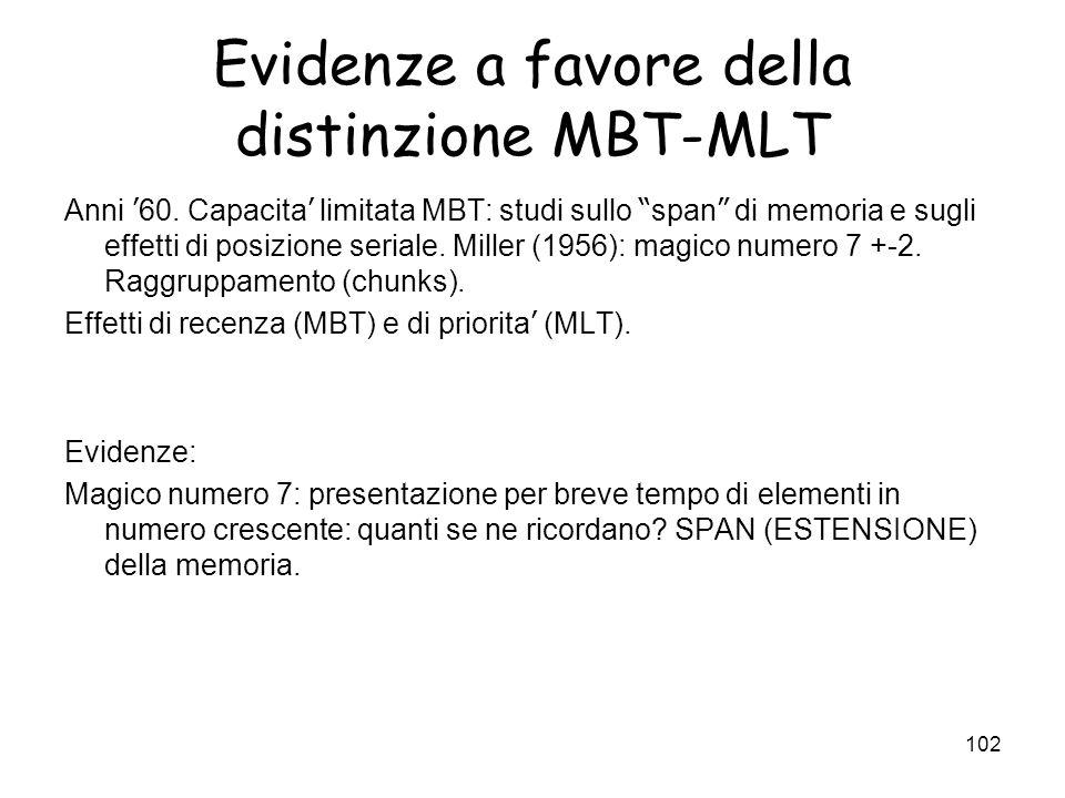101 I sistemi. Memoria a breve e lungo termine, MBT e MLT Memoria a Breve Termine (MBT) Memoria a Lungo Termine (MLT) FunzioneElabora linformazione e